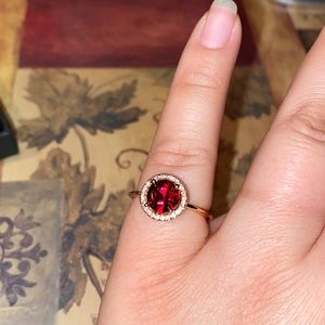 Swarovski Crystal Ruby Red Ring is Plated in 14K